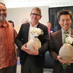 Vern Yip of HGTV receives a stoneware vase